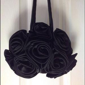 Handbags - Black Satin Rose Evening Bag